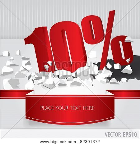 Red 10 Percent Discount On Vector Cracked Ground On White Background