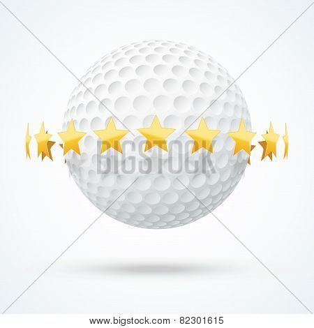 Vector illustration of golf ball with golden stars