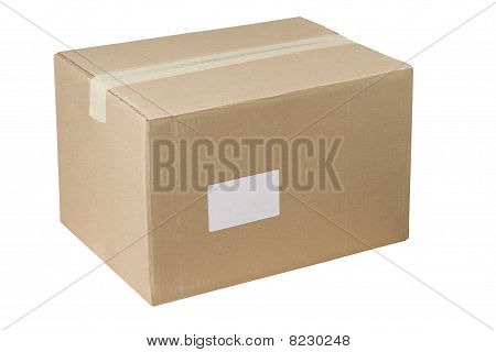 Closed Shipping Cardboard Box Whit White Empty Label