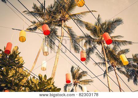 Hanging Colorful Celebration Decorative Element In The Krabi ,thailand