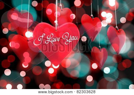 i love you against digitally generated twinkling light design