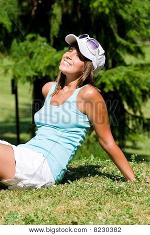 Happy Woman Enjoy Sun In Park