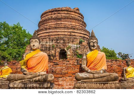 Buddhas At The Temple Of Wat Yai Chai Mongkol In Ayutthaya,thailand