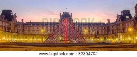 PARIS, FRANCE - 29 NOVEMBER, 2014: Louvre in the sunrise