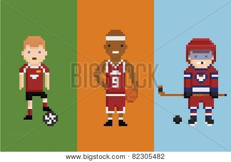 pixel art style illustration - sportsman football basketball hockey with items ball puck and bandy