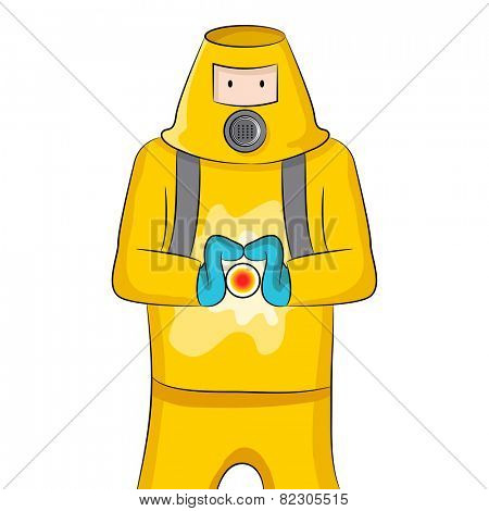 An image of someone in a protective suit containing a virus.