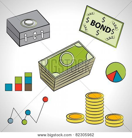 An image of a set of financial items.