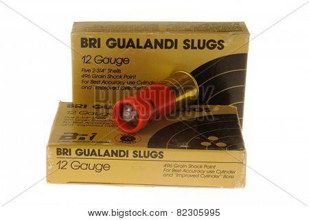 Hayward, CA - February 2, 2015: Box of BRI Gualandi Brand slugs, ammunition for a shotgun