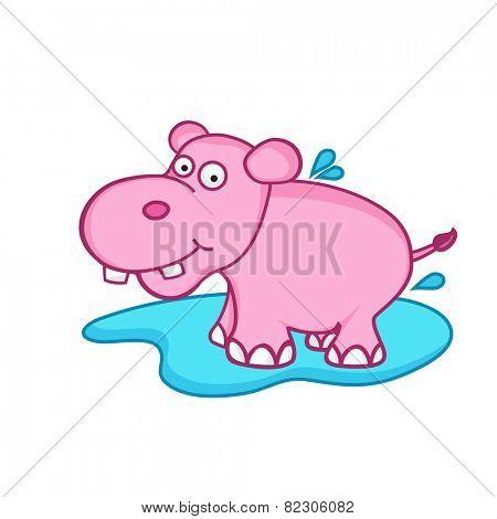 Cute pink cartoon of hippopotamus,