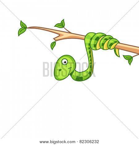 Cute snake cartoon on branch of tree.