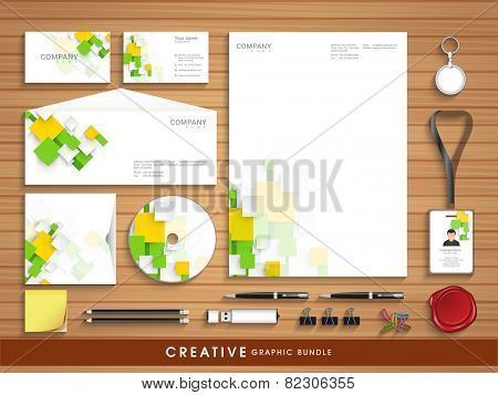 Professional corporate identity set with colorful abstract wave effect for your business includes CD Cover, Business Card, Envelope, ID Card, Smart phone and Letterhead.