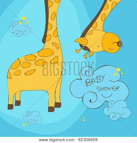 Cute cartoon of a giraffe with stylish text of Baby Shower on blue background, can be used as greeting card or invitation card for baby shower celebration.