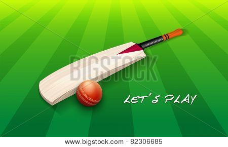 Cricket bat with red ball on green stadium with stylish text Let's Play.