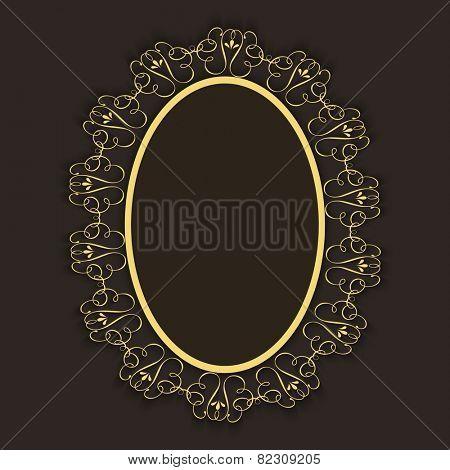 Shiny golden floral design decorated frame in oval shape.