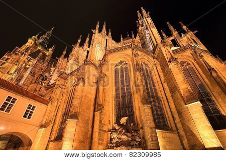 Night gothic St. Vitus' Cathedral on Prague Castle, Czech Republic