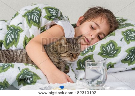 Portrait of sick little boy with cat in bed
