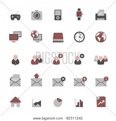 Set of multimedia flat design icons 2 - devices, business, office & graphs
