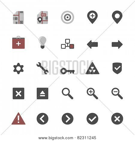 Set of multimedia flat design icons 3 - navigation, security & additional items - isolated on white background