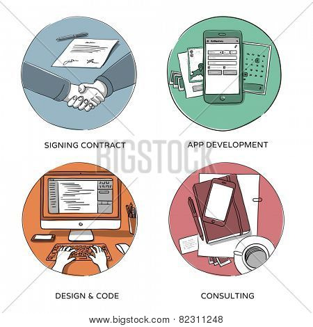 Internet business, website design & coding, mobile app development, consulting - set of hand drawn illustrations