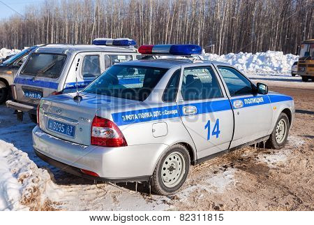 Russian Patrol Cars Of The State Automobile Inspectorate In Winter Summer Day