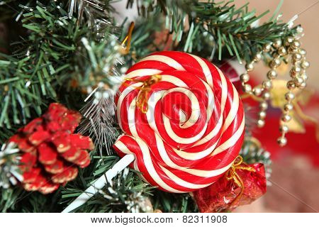 Cute Christmas Still Life With Pinetree Cone  And Candy