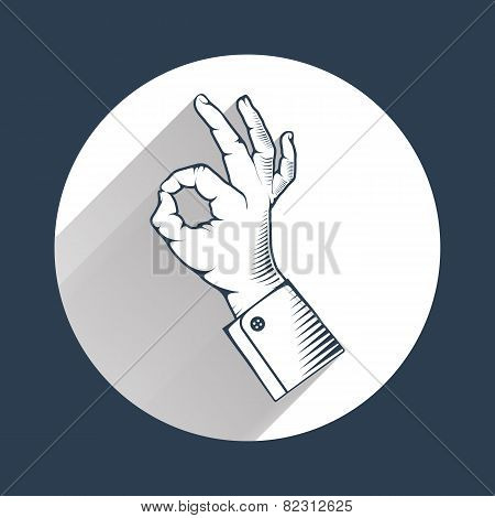 Human hand showing symbol of all ok with long shadow.