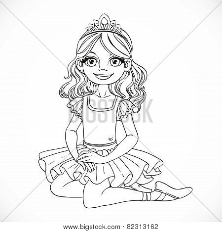 Ballerina Girl In Tutu And Tiara Sit On Floor Outlined Isolated On A White Background