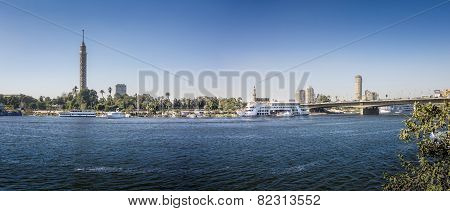 Nile Riverfront At Cairo, Egypt Panorama
