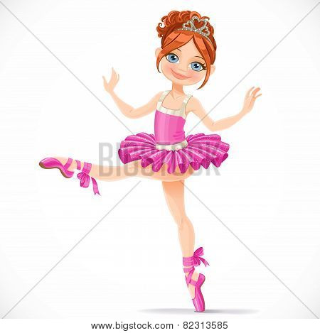 Graceful Brunette Ballerina Girl Dancing In Pink Dress Isolated On A White Background