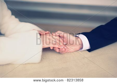Wedding, Engagement And Date Concept - Couple In Love, Man Gently Holds The Hand Of A Woman, Soft Pa