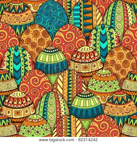 Hand-drawn doodle vector Easter seamless pattern.