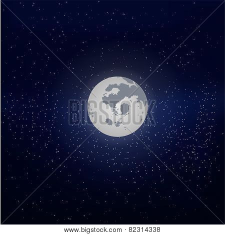 Moon In The Starry Sky