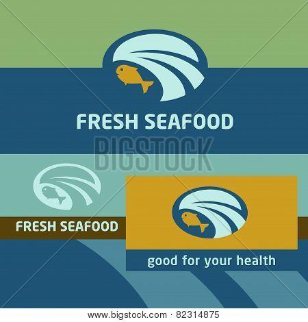 Vector background and logo label. Oceanside, landscape. Seafood. Canned fish, preserves