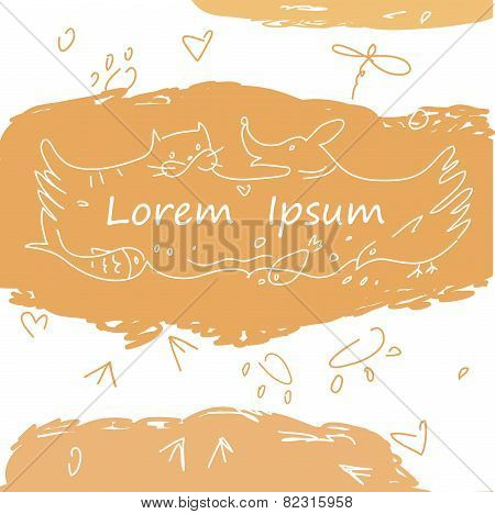 Colorful banner with animals for pet shop. Cat, dog, fish, bird, animal tracks in the logo