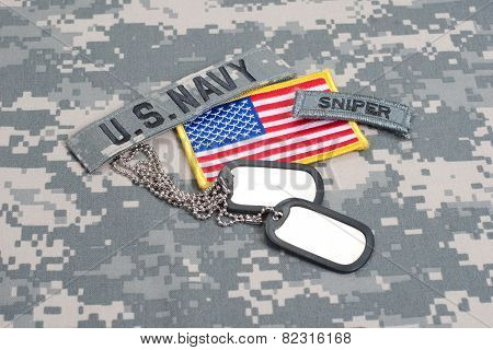 Us Army Sniper Tab With Blank Dog Tags On Camouflage Uniform
