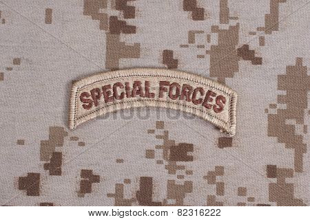 Us Army Special Forces Tab On Camouflage Uniform