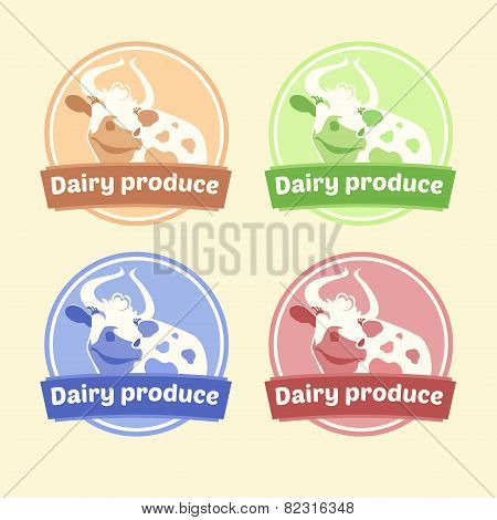 Logo Set of labels for dairy products. Editable labels for packages. Dairy products. Yogurt, kefir,