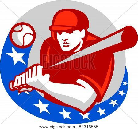 Baseball Player Batter Stars Circle Retro