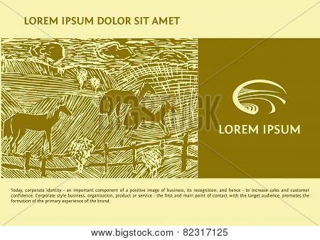 Vector logo with the image field of the road. Linocut depicting horses in the field. Background and