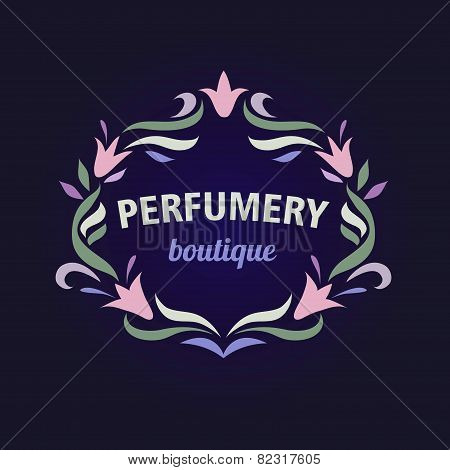 Vector logo with a vignette of flowers. Aromatherapy, perfume boutique. Flower essences, essential o