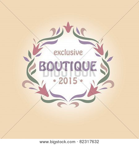 Vector logo with a vignette of flowers. Boutique perfumes and cosmetics, clothing and accessories, f