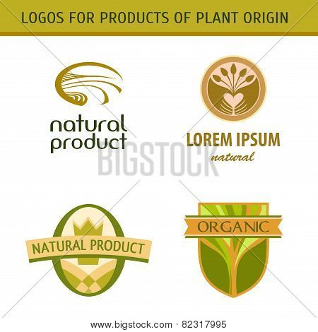 Set logo for farmers, agricultural products. Natural, fresh, grown.