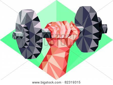 Hand Lifting Dumbbell Low Polygon