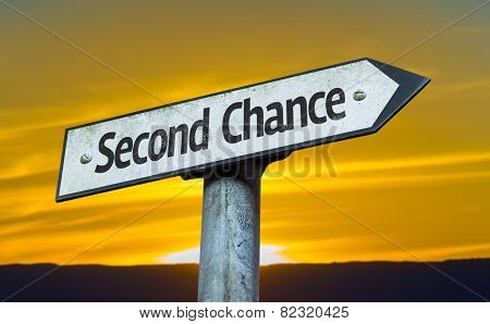 Second Chance sign with a sunset background