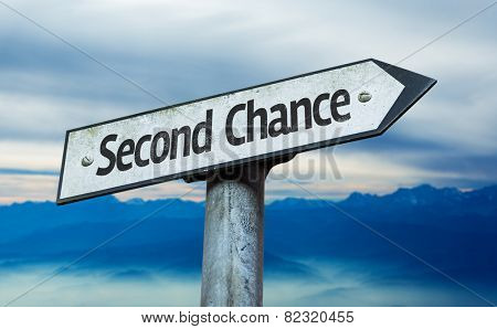 Second Chance sign with sky background