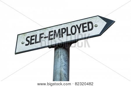 Self-Employed sign isolated on white background