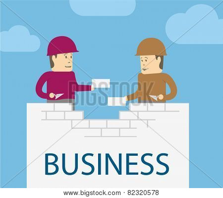 Partners work. Two businessman character building business together
