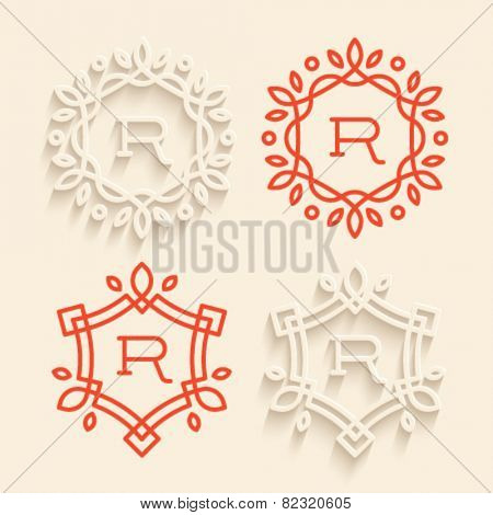 Set of simple floral monogram designs with beautiful flat shadow effect.