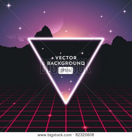 Retro futuristic vector background with triangle in front of stars sky.
