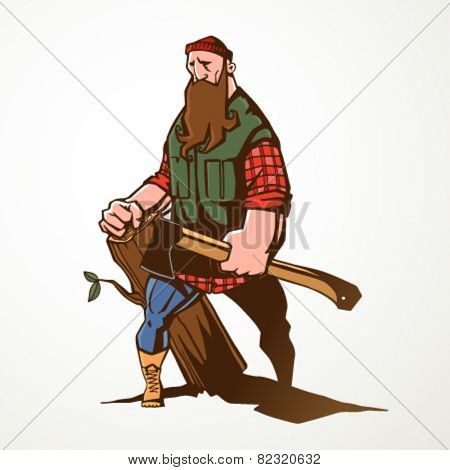 Vector illustration of lumberjack holding axe and big chunk of wood.